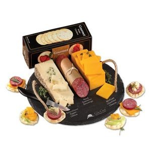 Round Slate Serving Plate with Wisconsin Cheese & Sausage
