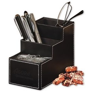 Faux Leather Desk Organizer with English Butter Toffee